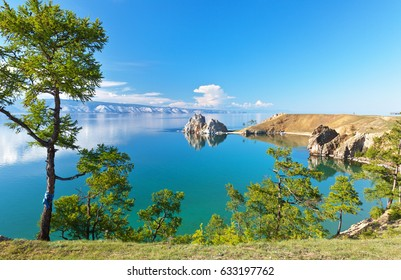Lake Baikal. Island Olkhon. Shamanka Rock on a sunny June afternoon