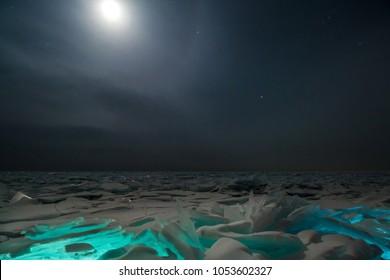 lake Baikal, night, ice, snow, moon, halo, stars, clouds