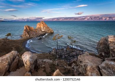 lake Baikal, Olkhon, Cape Burhan, rock shaman, dawn