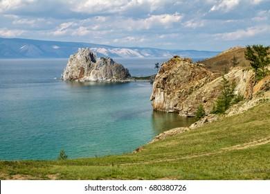 lake Baikal, Olkhon, Cape Burhan, rock shaman, landscape, day, summer, tourism, travel, water, clouds, sky