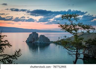 lake Baikal, Olkhon island, shaman rock, sunset, landscape, summer