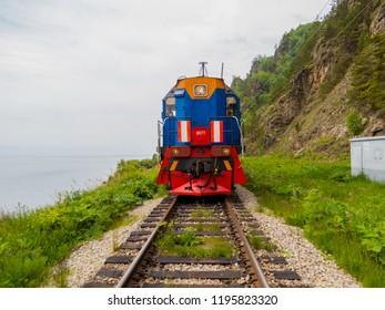 LAKE BAIKAL, RUSSIA - JUNE 14, 2018: View of the Circum-Baikal Express, the train that goes around the Lake Baikal, starting from Irkutsk Railway Station.