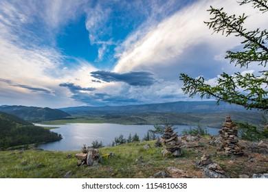 lake Baikal, sunset, landscape, summer, stone pyramids