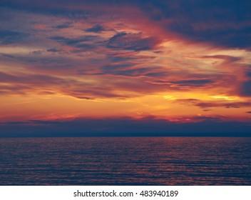 Lake Baikal at sunsetl. Gremyachinsk village. Russia