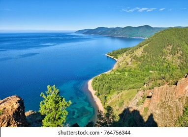 Lake Baikal. View from high cliff. Great Baikal trail. Irkutsk region. Russia