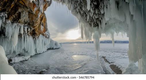 Lake Baikal in the winter. Siberia, Russia