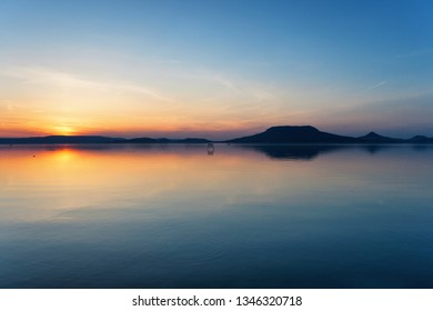 Lake Balaton after sunset with the Badacsony mountains in the background