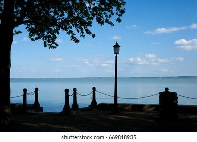 Lake Balaton at Balatonfured with silhouettes