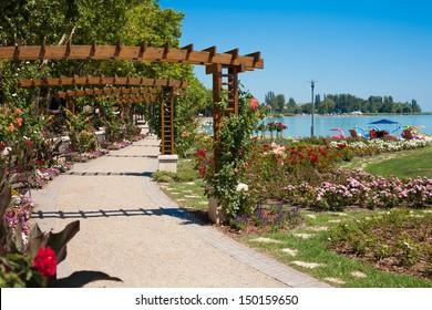 Lake Balaton beach and flower garden at Balatonfured, Hungary.