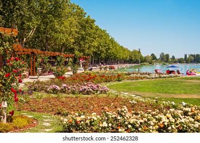 Lake Balaton beach and flower garden at Balatonfured, Hungary
