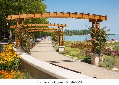 Lake Balaton beach with flower garden at Balatonfured, Hungary.
