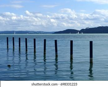 Lake Balaton by pier at Balatonfured