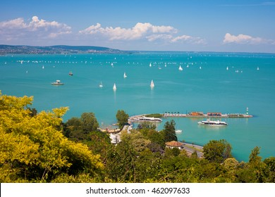 Lake Balaton with lots of sailboats from Tihany village in Hungary