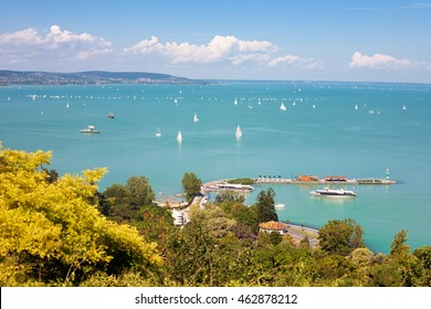 Lake Balaton with the marina of Tihany, Hungary