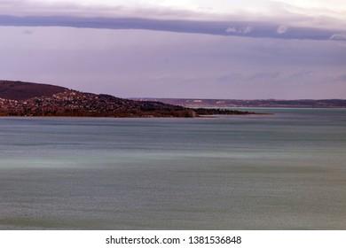 Lake Balaton on a cloudy day in Hungary.