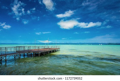 Lake Balaton with pier