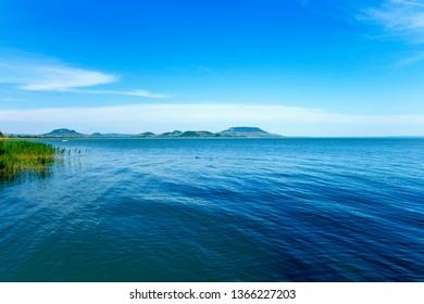 Lake Balaton shore with the Badacsony mountain in the Background.