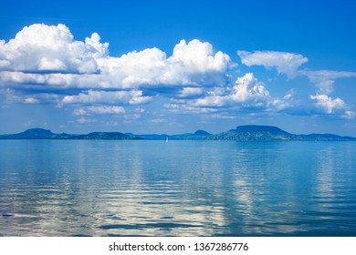 Lake Balaton in vivid blue colors with a nice cloudscape before storm in Hungary
