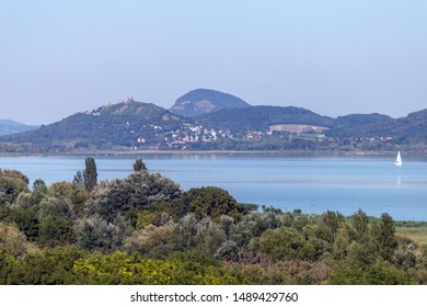 Lake Balaton with the witness hills in the background, Hungary.