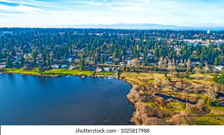 Lake Ballinger Edmonds Washington Olympic Mountains Background Aerial View