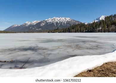 Lake Barmsee in Bavaria, Germany, in spring