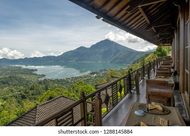 Lake Batur and Mount Batur viewed from Kintamani in Bali. Mount Batur is 1717 meters high and an active volcano, which last erupted in 2000.