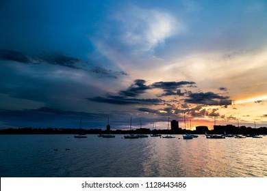 Lake Bde Maka Ska cloudy sunset