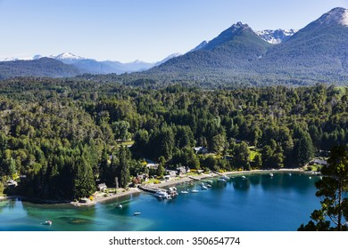 lake, beach, forest and mountains