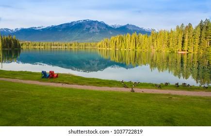 Lake Beauvert in Jasper National Park, Alberta Canada