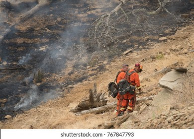 Lake Berryessa California/USA - 6/27/2015: Cal Fire fire fighters fighting wild fires