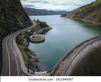 Lake Berryessa damn and overflow hole. Lake berryessa, California January 2019.