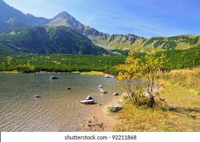 Lake Bialy Staw in High Tatra Mountains, Slovakia