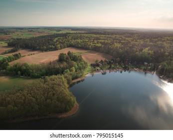 lake in bird's-eye view. Drone photos