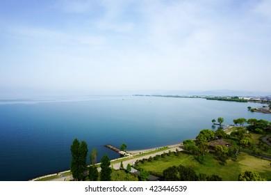 Lake Biwa, the biggest lake in Japan.
