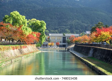Lake Biwa Canal in Okazaki district, Kyoto, Japan, in autumn.
