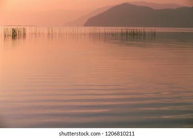 Lake Biwa of evening mist