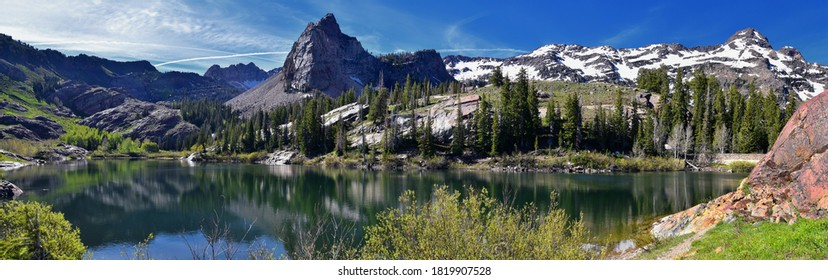Lake Blanche Hiking Trail panorama views. Wasatch Front Rocky Mountains, Twin Peaks Wilderness,  Wasatch National Forest in Big Cottonwood Canyon in Salt Lake County Utah. United States.