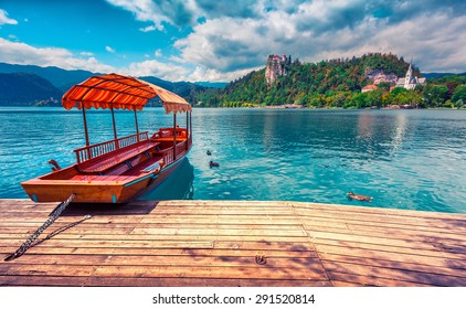 Lake Bled (Blejsko jezero) is a glacial lake in the Julian Alps in northwestern Slovenia, where it adjoins the town of Bled and is overlooked by Bled Castle. Instagram toning.