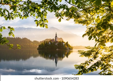 Lake Bled. Castle on the island - romantic place in Slovenia, Europe.