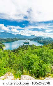 Lake Bled with church island from viewpoint Ojstrica Slovenia
