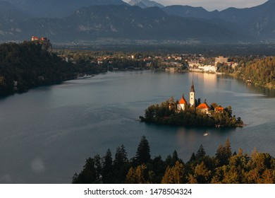 Lake Bled with its church in the middle of Bled island and the Bled castle on the hill