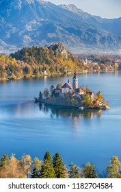 Lake Bled and the church in Slovenia from the hill