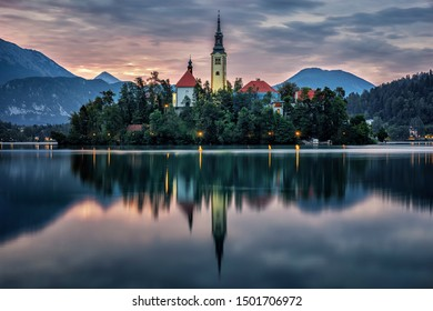 Lake Bled during blue hour