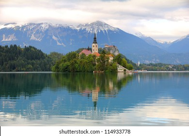 Lake Bled with island, castle and mountains in background, Slovenia, Europe
