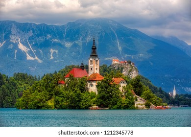 Lake Bled, with Bled Island and Bled Castle, Slovenia