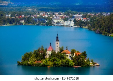 Lake Bled with Bled Island and the City of Bled, Slovenia