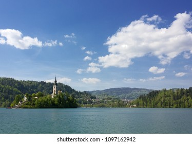 Lake Bled and Bled Island in a springtime sunny afternoon