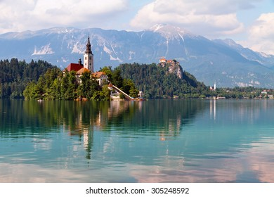Lake Bled and island surrounded by mountains and forests, Slovenia.