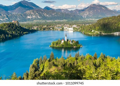 Lake Bled island view from Ojstrica Slovenia