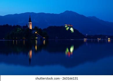 Lake Bled at night, Slovenia